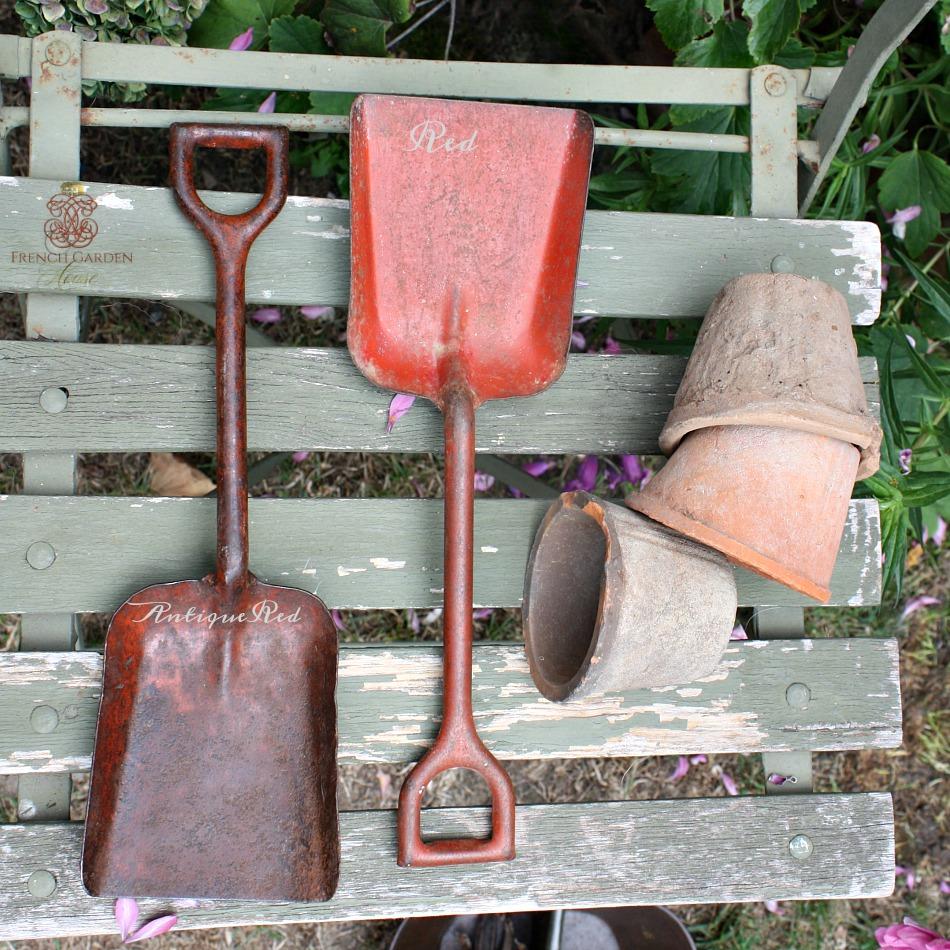 Antique Child's Toy Garden Shovel Red