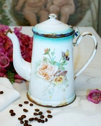 Antique French Enamelware Coffeepot Pink Rose