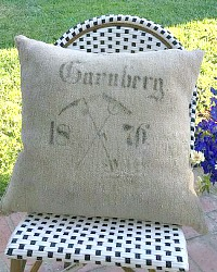 19th Century Antique Hand Woven Grain Sack Pillow