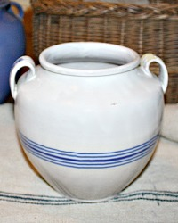19th Century French White and Blue Glazed Faience Confit Pot