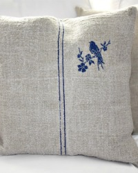 Antique French Country Grain Sack Pillow with Blue Embroidered Bird