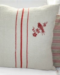 Antique French Country Grain Sack Pillow with Red Embroidered Bird