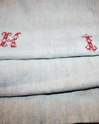 Antique French Hand Woven Linen Grain Sack Monogram K I