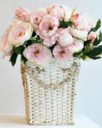 Rare Antique Gesso Floral Barbola Basket