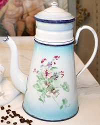 Antique French Enameled Biggin Cafetiere Woodland Violets