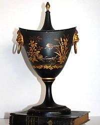 Antique French 19th Century Tole Peinte GIlt Chestnut Urn