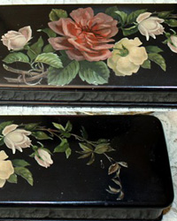 Antique Victorian Papier Mache Pink Rose Glove or Fan Box