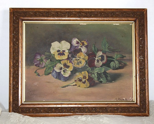 Antique Victorian Sunday Pansies Floral Oil Painti