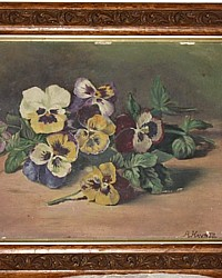 Antique Victorian Sunday Pansies Floral Oil Painting