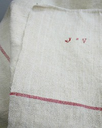 19th Century Hand Woven French Family Linen Table Runner