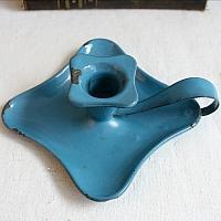Antique French Aqua Blue Enameled Candle Holder