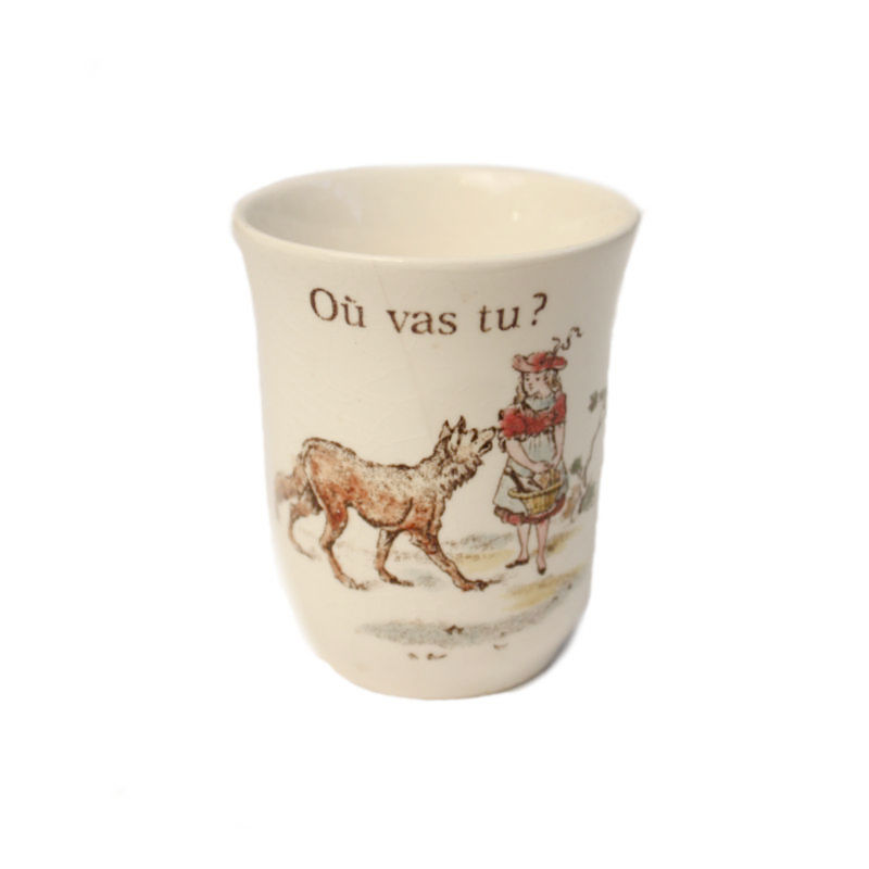 French Hand Painted Children's Milk Cup Red Riding Hood