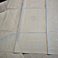 Art Deco Damask Tablecloth with Monograms & 12 Napkins