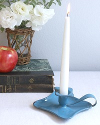 Antique French Aqua Blue Enameled Candle Holder
