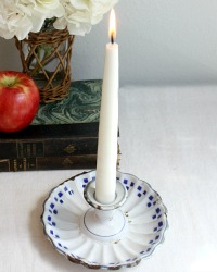 Antique French Classic Blue & White Enameled Candle Holder