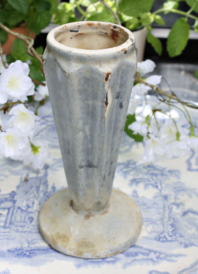 Antique French Art Deco Enameled Blue Grey Vase