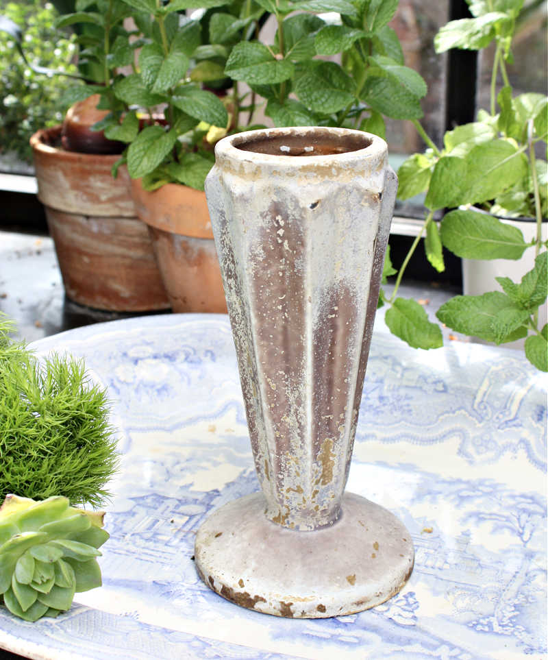 Art Deco Cast Iron Aged Cemetery Vase Ribbed
