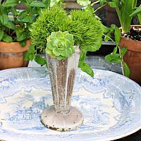 Art Deco Cast Iron Aged Cemetery Vase Ribbed