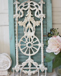 Antique French Architectural Salvage Cast Metal Baluster Floral Garland