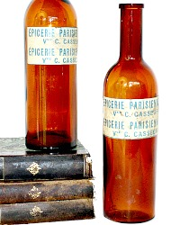 French Amber Brown Glass Bottle Epicerie Parisienne Pair
