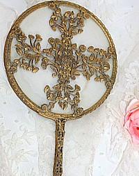 Antique Apollo Studios Gold Plated Hand Mirror