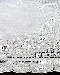 Antique Appenzell Embroidered Swiss Linen Wedding Bridal Handkerchief #3