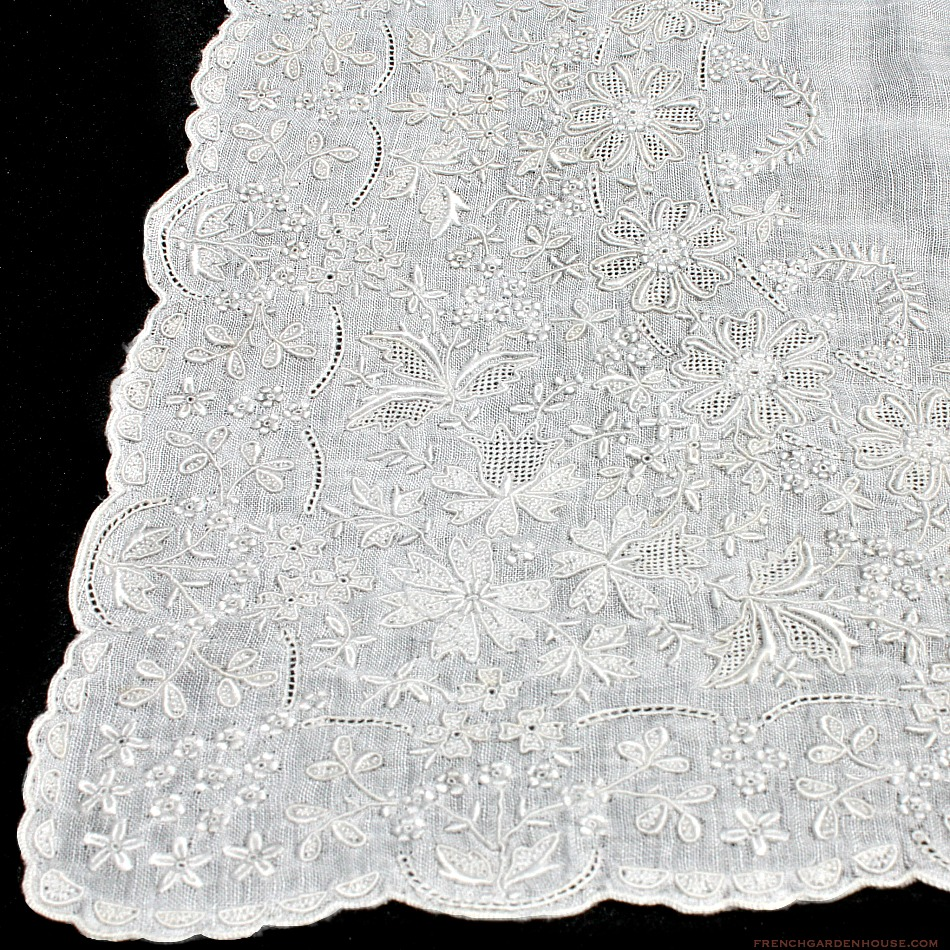 Antique Appenzell Embroidered Swiss Linen Wedding Bridal Handkerchief #5
