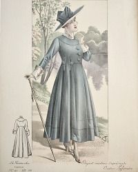 Antique French Hand Colored Fashion Print Blue Elegant Manteau