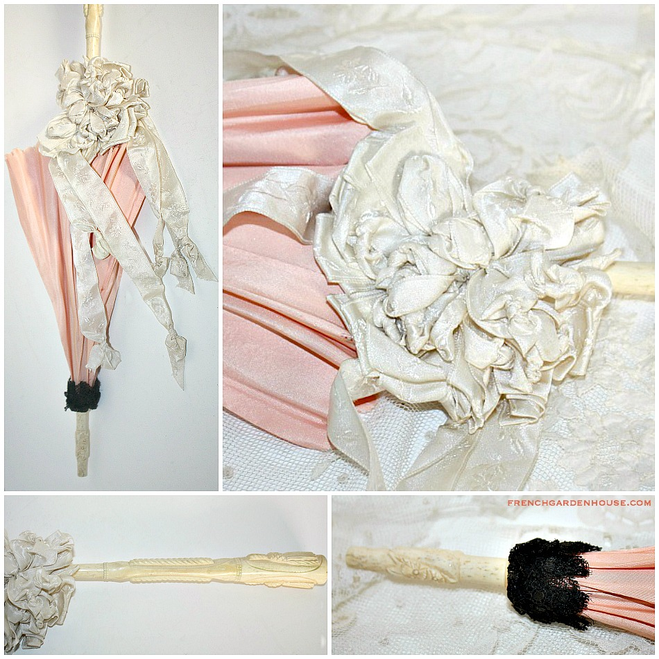 Antique French Doll Apricot Parasol White Silk Floral Ribbon 1874