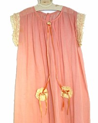Antique French Apricot Pink Little Girl's Dress 1919