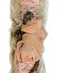 Antique Pink Apricot Satin Garter Ribbonwork Roses