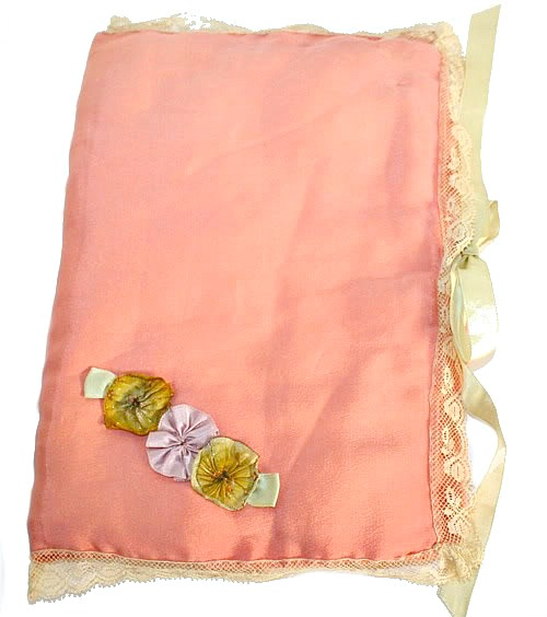 French Apricot Silk Ribbonwork Rosettes Hanky Case