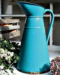 Antique French Enamelware Body Pitcher Teal Aqua Blue