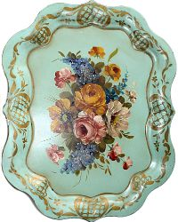 Vintage Aqua Floral Hand Painted Toleware Tray Chippendale