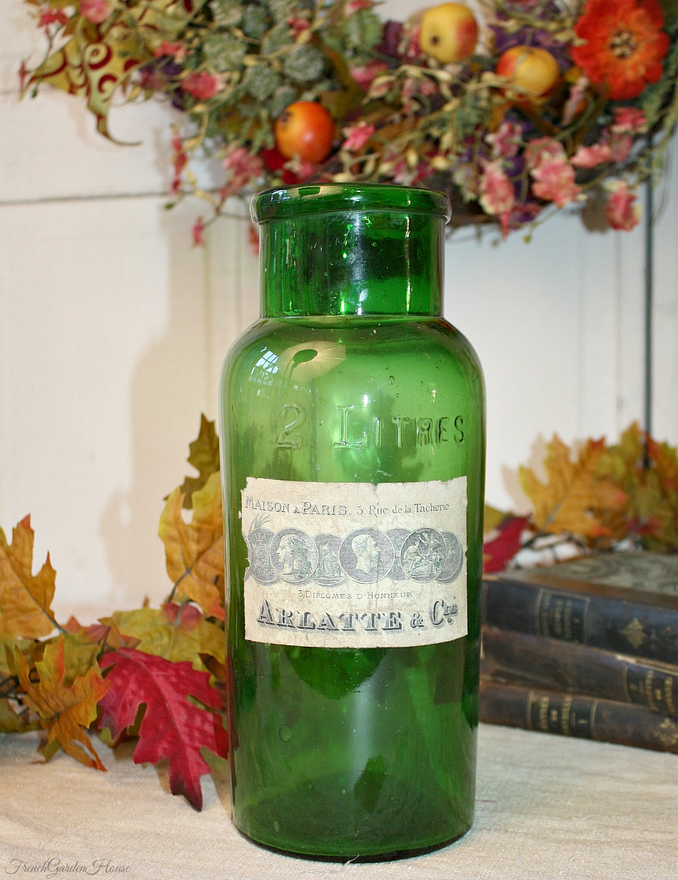 Antique French Apothecary Green Glass Container Arlatte & Cie Label