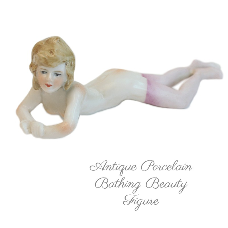 Antique Porcelain Bathing Beauty Figure