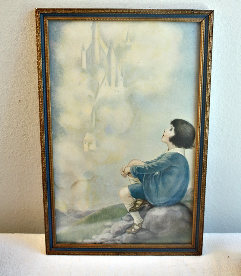 Art Deco Framed Chromolithograph Print Castles in the Air