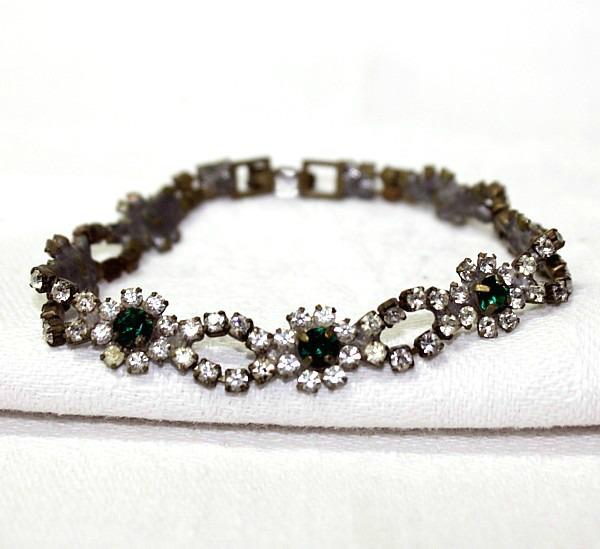 Vintage 1920's Czech Rhinestone Emerald Green Bracelet Fleur