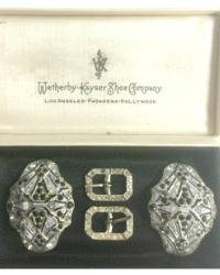 Antique French Boxed Set of Rhinestone Shoe Clips and Buckles