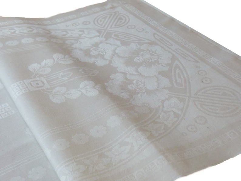 Antique Art Nouveau Floral Damask Tea Towel