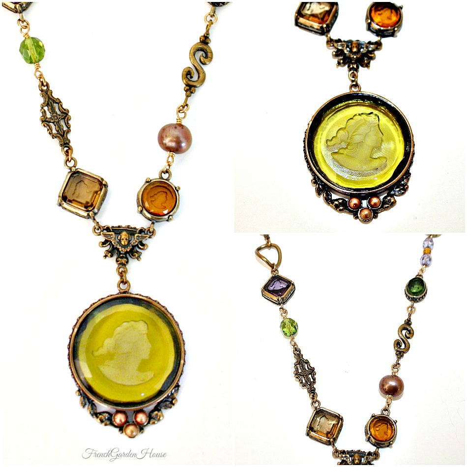 Extasia Moss Arts and Crafts Intaglio Necklace