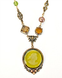 Extasia Moss Arts and Crafts Intaglio Necklace