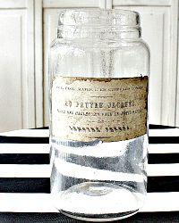 Antique French Glass Storage Jar Au Pauvre Jacques