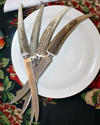 Naturally Shed Stag Horn Steak Knives Set of 4