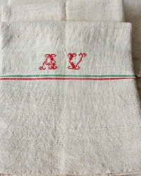 19th Century French Hand Woven Natural Linen Towel Monogram A V