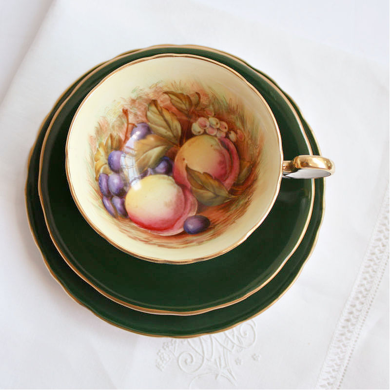 Aynsley Orchard Fruit Tea Cup & Cake Plate Trio Signed D Jones Green