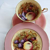 Aynsley Orchard Fruit Tea Cup & Cake Plate Trio Signed D Jones Pink