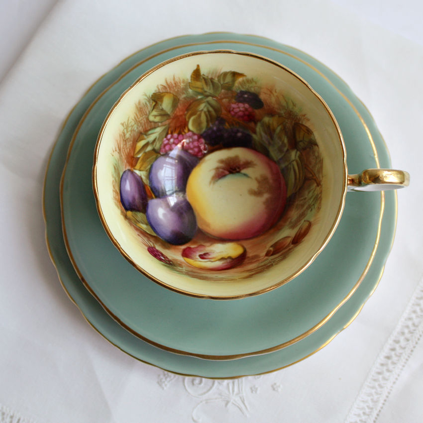 Aynsley Orchard Fruit Tea Cup & Cake Plate Trio Signed D Jones Sage