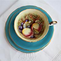 Aynsley Orchard Fruit Tea Cup & Cake Plate Trio Signed D Jones Aqua Blue