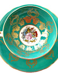 Vintage Aynsley Green & Gilt Hand Painted Teacup Roses Signed